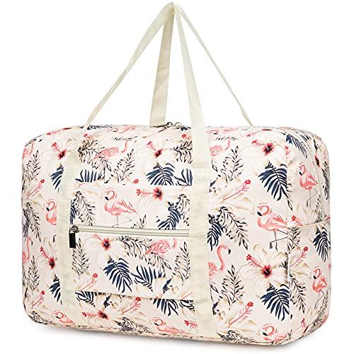 Borsone da viaggio da viaggio ripiegabile borsone porta bagagli weekender durante la notte Sport Duffle per bambini ragazze donne (1112-beige fenicottero