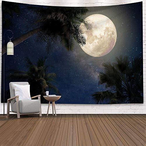 AdoDecor Luna Noche Cielo Estrellado Tapiz Colgante de Pared decoración Boho Tapiz de Tela de Pared Redonda Luna Tapiz de Pared Alfombra hogar Dormitorio 150x110cm