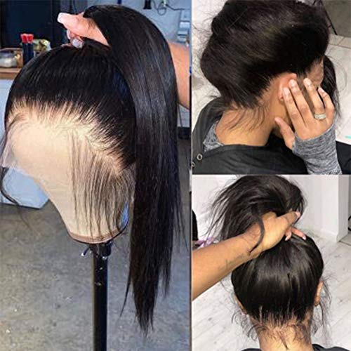 360 Lace Frontal Wigs Human Hair 150% Density Straight Lace Front Wigs for African American Women (16 inch, Straight)