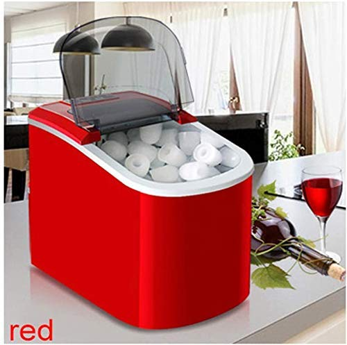 Intelligent IJsmachine, Mini automatische elektrische ijsmachine Portable Bullet Ronde Block Ice Cube Making Machine Small Bar Eethuis 15Kgs / 24, Silver XIUYU (Color : Red)