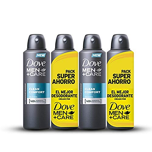 Dove Men Pack Ahorro Desodorante Clean Comfort - 2 Paquetes de 2 x 200 ml - Total: 800 ml