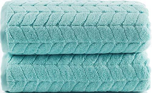 Bagno Milano - Juego de toallas turcas 100% algodón turco jacquard de lujo – secado rápido no transgénico ultra suave, felpa y absorbente, de lujo duradero juego de toallas turcas (verde aguamarina, juego de 2 toallas de baño)