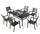 Ulax Furniture Outdoor 7 Pieces Dining Set Patio Dining Furniture Set, 6 Steel Dining Arm Chairs and 1 Rectangular Metal Slat Backyard Garden Table with Umbrella Hole