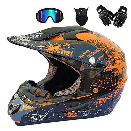 QYTK® Serie RT-301 Motorradhelm herren, Erwachsener Open Face Motocross Helm Ski Motocross Off-Road Quad Enduro Motorrad Integralhelm mit Brille Maske Schutzbrille,S54~55CM