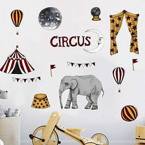 Etiqueta engomada linda de la pared del circo elefante de dibujos animados globo aerostático tienda papel tapiz para dormitorio extraíble niños s sala de estar etiqueta de la pared