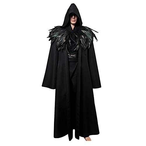 8b0a5db6f4d L'vow Fashion Gothic Hooded Mens Black Feather Cape Cloak Long Coats (XL(