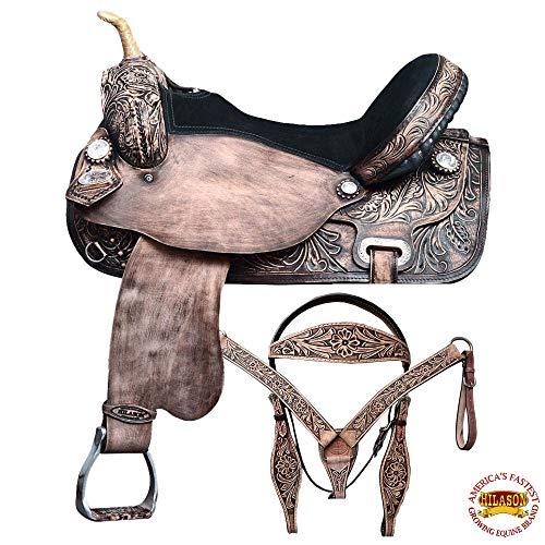 HILASON 17 Western Horse Saddle American Leather Flex Trail Barrel Tack