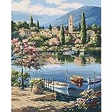 Pintura por números para colorear pintura de paisaje cuadro de lienzo pintura al óleo por número mar pintado a mano decoración del hogar A6 50x65cm