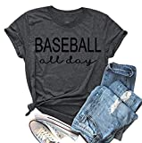 EGELEXY Funny Baseball All Day Letter Print T-Shirt Women Casual Short Sleeves Summer Tee Top Blouse Size S (Grey)