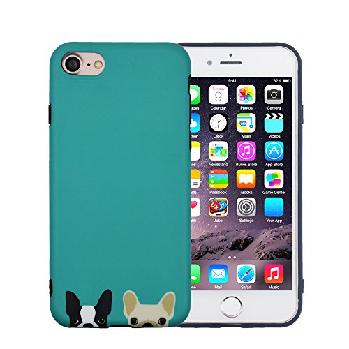 iPhone 6S Case, FACEVER Cute French Bulldog Matte Anti-Fingerprint Soft Silicone Girls Funny Dogs Protective Case Cover for Apple iPhone 6 6S 4.7 inch -Green