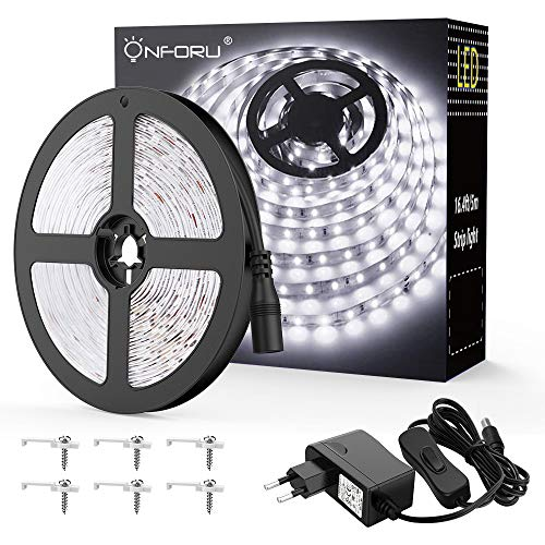 Onforu 5M LED Strip, 6000K Kaltweiß LED Band, 300 LEDs Streifen mit Schalter, Selbstklebend 2835 LED Lichtband, Leuchtband mit 12V Netzteil Innenbeleuchtung für Küche, Schrank, Party, Zimmer Deko