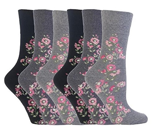Iomi-Donna 6 Pack Thin Extra Wide Loose Top nonelastic cotone Diabetic Socks