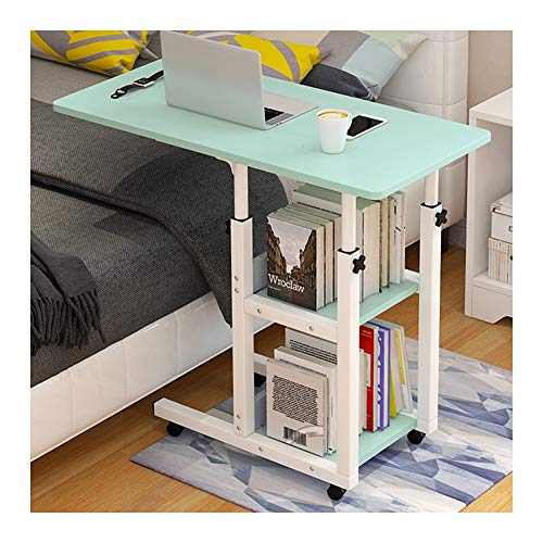 Days Overbed Table With Castors, Adjustable Height, Adjustable Laptop Stand Desk,Mobile Stand Up Desk,Suitable For Bedroom And Living Room Foldable Laptop Stand FFFF (Color : Green)
