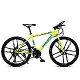 Novokart- Mountain Bike Country, Freno a Doppio Disco da 26 Pollici, MTB per Adulti, Bcicletta da Montagna con Sedile Regolabile, Giallo, 10 Cutter, Turno di 24 Fasi