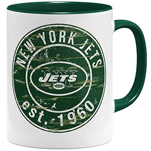 OM3® New York #2 Badge Tasse   Keramik Becher   11oz 325ml   American Football Mug   Grün