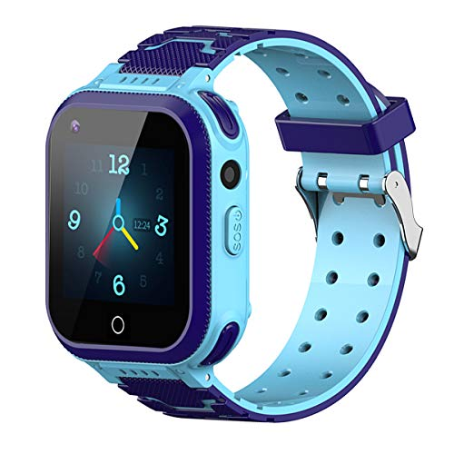 Kids Smartwatch, 4G WiFi GPS LBS Tracker SOS Emergency Call Video Chat Children Smartwatches, IP67 Waterproof Phone Watch for Boys Girls, Compatible with Android/iPhone iOS (Dark Blue + Light Blue)
