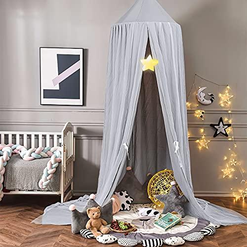 Ciels de Lit pour Enfant, Moustiquaire baldaquin pour Bébé ou Enfant, Conception de décoration à double couche Baldaquin pour de Chambre à Coucher (gris)