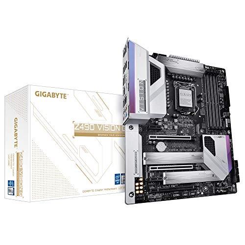 GIGABYTE Z490 Vision G Intel LGA 1200 ATX Placa Base (12+1 Fases de diseño de energía, Intel 2.5GbE, 2 vías SLI/Crossfire Multi-Graphics, Dual M.2, USB 3.2 Gen2, Type-C, RGB Fusion 2.0)