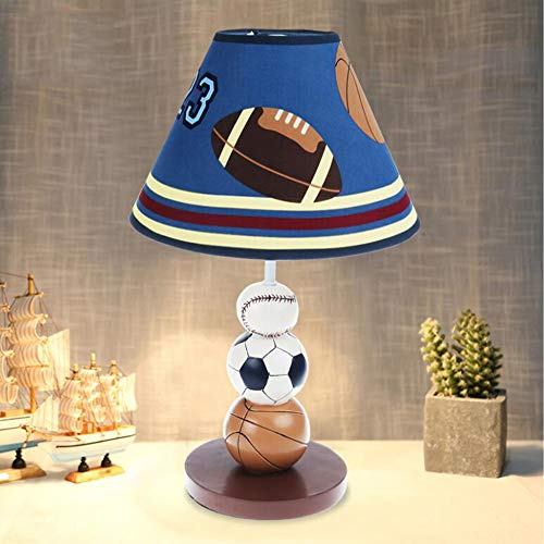 HRFHLHY Boy slaapkamer bedlampje kinder-Cartoon voetbal-/rugby-patroon decoratie tafellamp LED gloeilampen