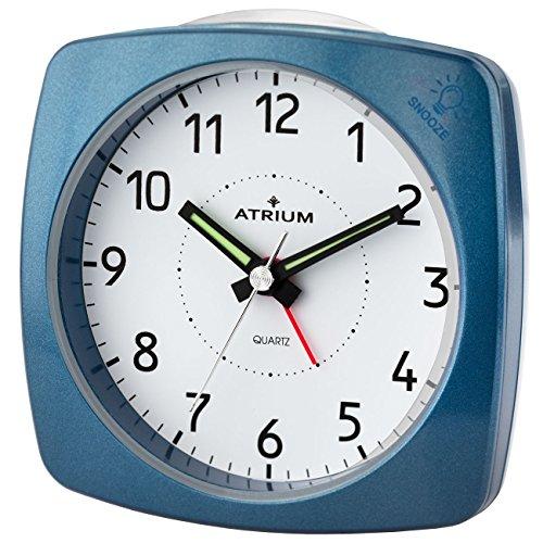 ATRIUM Wecker analog metallic blau ohne Ticken, mit Licht und Snooze A251-5