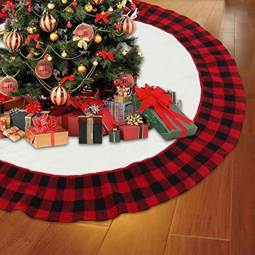 Yideng Weihnachtsbaumdecke,48 Zoll/122cm Weihnachtsbaum Röcke gestrickter Weihnachtsbaumrock Superweicher rot-schwarzer Karierter Baumrock Weihnachtsdekoration Neujahr Party Urlaub Dekorationen