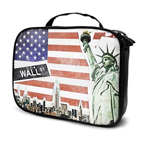 Sacs à cosmétiques pour les femmes voyagent, Collage vintage de New York City, Étui à crayons pour le fond du drapeau américain