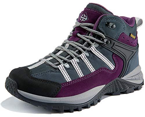 Wantdo Women's Mid Waterproof Hiking Boots Outdoor Mid Trekking Shoes Backpacking Mountaineering Footwear 8.5 M US Purple Black