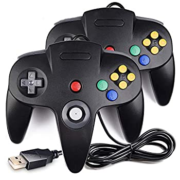 2 Pack Classic N64 Controller iNNEXT N64 Wired USB PC Game pad Joystick N64 Bit USB Wired Game Stick Joy pad Controller for Windows PC MAC Linux Raspberry Pi 3 Genesis Higan