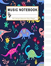 Music Notebook: Dinosaur Blank Sheet Music Notebook, Manuscript Paper, 130 Pages of Staff Paper, 10 Large Staves per Page (Music Life)
