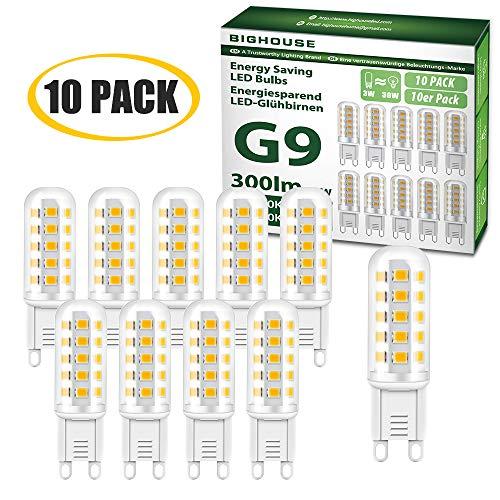 G9 LED Warmweiss (3000K), 3W 270 Lumen LED Lampe Ersatz für 40W Halogenlampen, 360° Abstrahlwinkel, CRI>85, Nicht Dimmable, 220-240V AC, 10 Stück [Energieklasse A+]