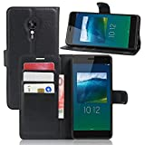 Ycloud Tasche für Lenovo ZUK Z2 Pro (5.2 Zoll) Hülle, PU Ledertasche Flip Cover Wallet Hülle Handyhülle mit Stand Function Credit Card Slots Bookstyle Purse Design schwarz