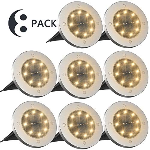 Tysonir Solar Ground Lights,Disk Lights Solar Powered 8 LED ,Outdoor in-ground Solar Lights for Landscape Walkway Lawn Steps Decks, LED lamp, Waterproof(Warm White)