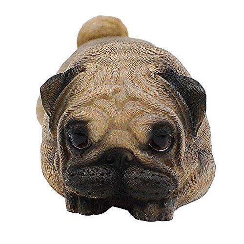 "Comfy Hour Doggyland Collection, Miniature Dog Collectibles 5"" Gazing Softly Ahead Lying Pug Figurine, Realistic Lifelike Animal Statue Home Decoration, Fawn Brown, Polyresin"