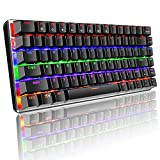 Mechanical Keyboard Color Rainbow LED Backlit 82 Key Layout Blue Switch Wired Metal Panle Portable Wired Gaming Keyboard with Anti-ghosting Keys, Pluggable Cable, for Gamers Typists Office