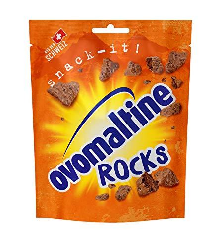 Ovomaltine Rocks - knusprige Ovomaltine Stücke mit Schokolade - Schoko-Snack aus Schweizer Vollmilch-Schokolade, nachhaltig und UTZ-zertifiziert, 1 x 60 g