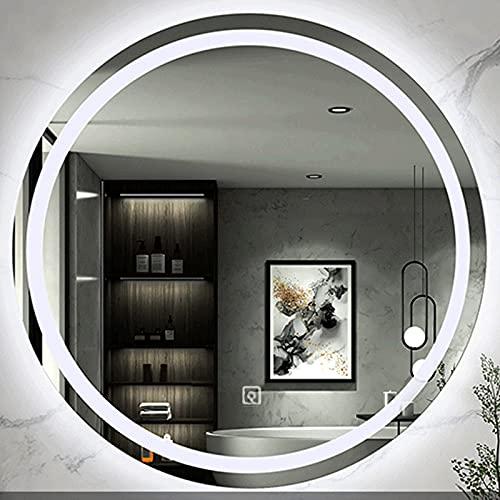 LED Espejo de Baño Redondo Retroiluminado, Espejo de Vanidad con Luz LED con Luz, Montado en La Pared, Maquillaje, HD 50/60/70/80 CM