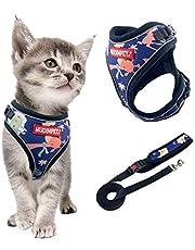 Mudinpet 猫 猫用 猫 ハーネス 猫胴輪 リードセット サイズ調節可能 メッシュ 通気いい ネコベスト ソフト胸あて お出かけ 散歩 軽量 夜反射 脱走防止