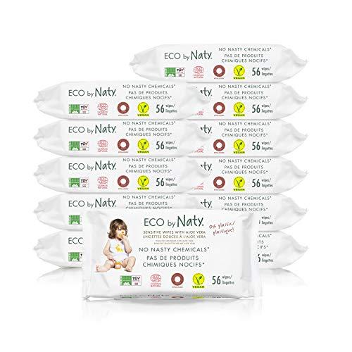 Eco by Naty Aloe Vera Baby-Feuchttücher, 672 Stück (12 Packungen mit je 56), pflanzliche kompostierbare Feuchttücher, 0% Plastik. Frei von gefährlichen Chemikalien