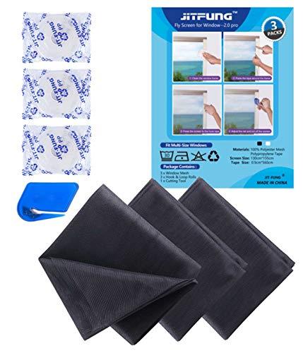 JIT-FUNG Insect Stop Fliegengitter für Fenster - Zuschneidbares Moskitonetz, 1,3m x 1,55m, mit 3 x selbstklebendes Klettband, Fliegen Netz Anthrazit - 2.0 Pro (3er-Pack)