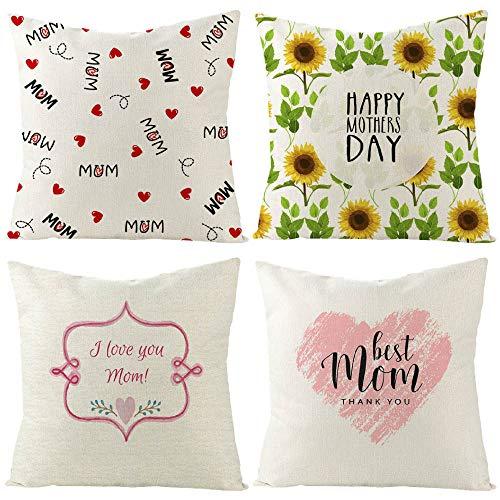 Cushion Pillow Covers Linen Cushion Pillow sofa decorative pillowcasepillowcase Colourful Decorative Pillowcases Personalised for Boudoir Bedroom Living Room car Sofa 40cm X 40cm Set of 4(Style Three)