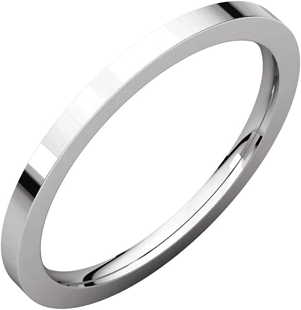Jewels By Lux 14K White Gold 1.5mm Flat Comfort Fit Wedding Ring Band