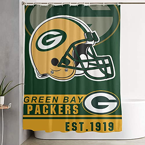 Green Bay Packers Shower Curtain for Bathroom, Hotel Style, Water Repellent American Football Design Curtains with Hooks 59 x 70 inch