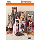 Simplicity 1514 18'' Doll and Girl's Animal Hat Sewing Patterns, Sizes S-L