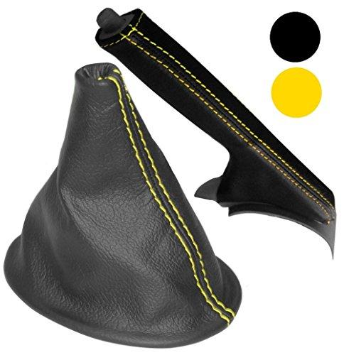 Aerzetix schakelmanchet en handrem van 100% echt leer, zwart, met gele naden