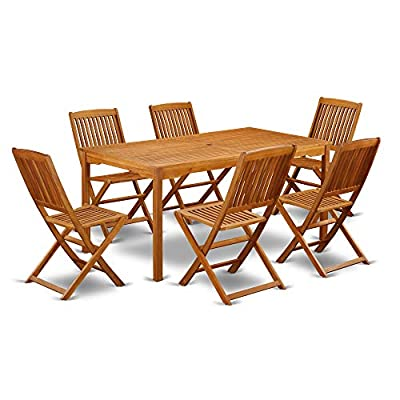 This 7 Piece Acacia Solid wood Outside patio Dining Sets offers one outdoor table and Six patio dining chairs