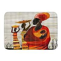 KAPANOU バスマット 吸水速乾 風呂マット ふんわり、赤ちゃんの芸術の油絵を持つアフリカのアフリカの女性、丸洗い 快適 浴室 洗面所 脱衣所 玄関 キッチン 滑り止め付き 45x75cm