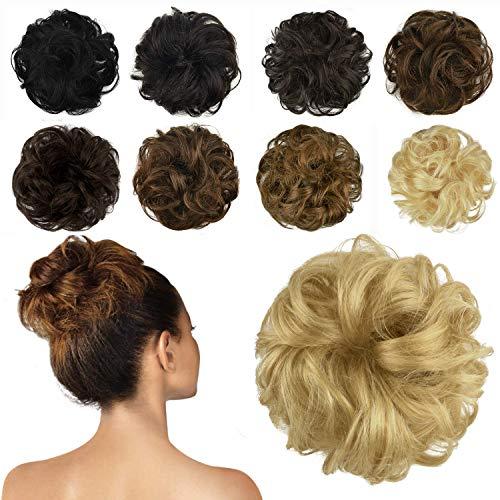 FESHFEN 100% Echthaar Haarteil Haargummi, lockige haarteile Haarknoten Haargummi Hochsteckfrisuren unordentlich dutt Haarteil Echthaar Haargummis für Damen Mädchen, Dunkel gebleicht blond