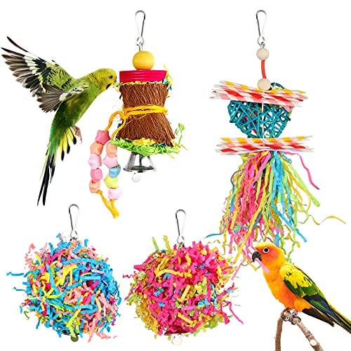 YUEPET 4 Pack Bird Shredder Toys Small Parrot Chewing Toys Parrot Cage Foraging Hanging Toy for...