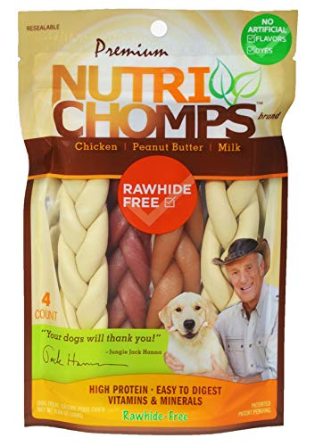 NutriChomps Dog Chews, 6-inch Braids, Easy to Digest, Rawhide-Free Dog Treats, Healthy, 4 Count, Real Chicken, Peanut Butter and Milk flavors