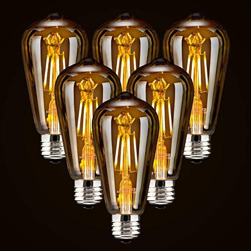6-Pack LED Dimmable Edison Light Bulbs 40W Equivalent Vintage Light Bulb, 2200K-2400K Warm White (Amber Glass), Antique LED Edison Bulbs, Squarrel Cage Filament,ST64, E26 LED Bulb Base (4W- 6 Pack)